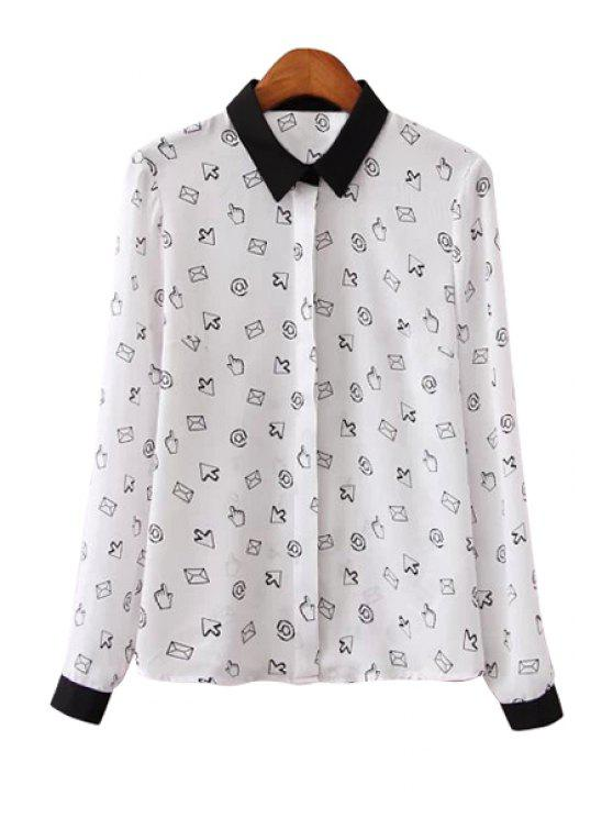 online Icon Print Long Sleeve Shirt - WHITE XS