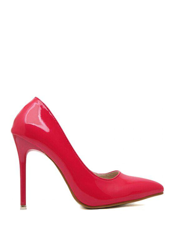 chic Patent Leather Pointed Toe Pumps - RED 35
