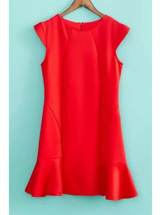 latest Solid Color Ruffles Splicing Dress - RED S