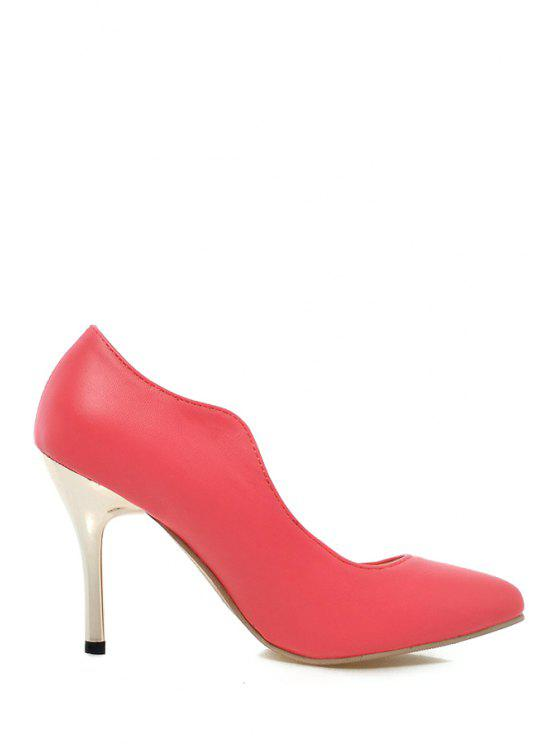 buy Solid Color Pointed Toe Stiletto Heel Pumps - RED 34