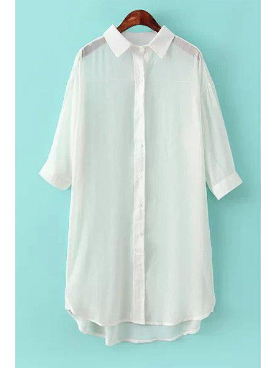 buy Half Sleeve Solid Color Shirt - WHITE ONE SIZE(FIT SIZE XS TO M)