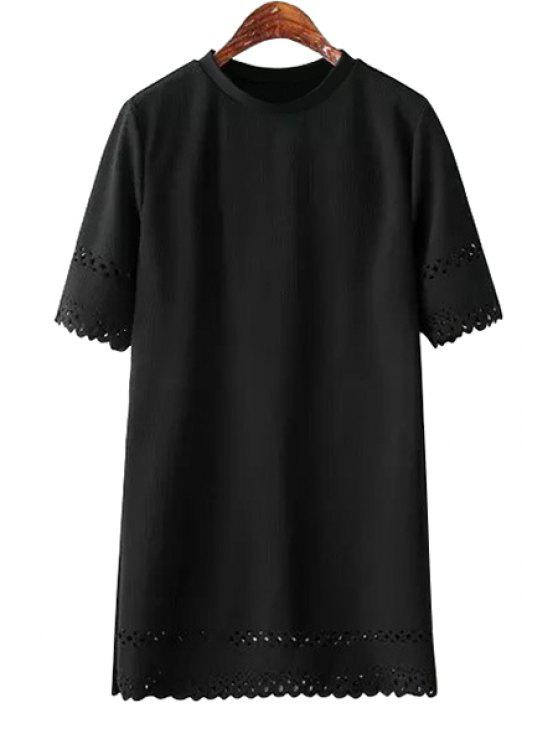 womens Hollow Out Short Sleeve Dress - BLACK ONE SIZE(FIT SIZE XS TO M)