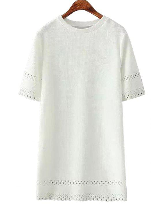 ladies Hollow Out Short Sleeve Dress - WHITE ONE SIZE(FIT SIZE XS TO M)