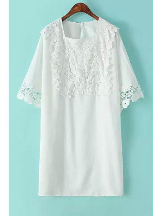 online Crochet Flower Splicing Dress - WHITE ONE SIZE(FIT SIZE XS TO M)