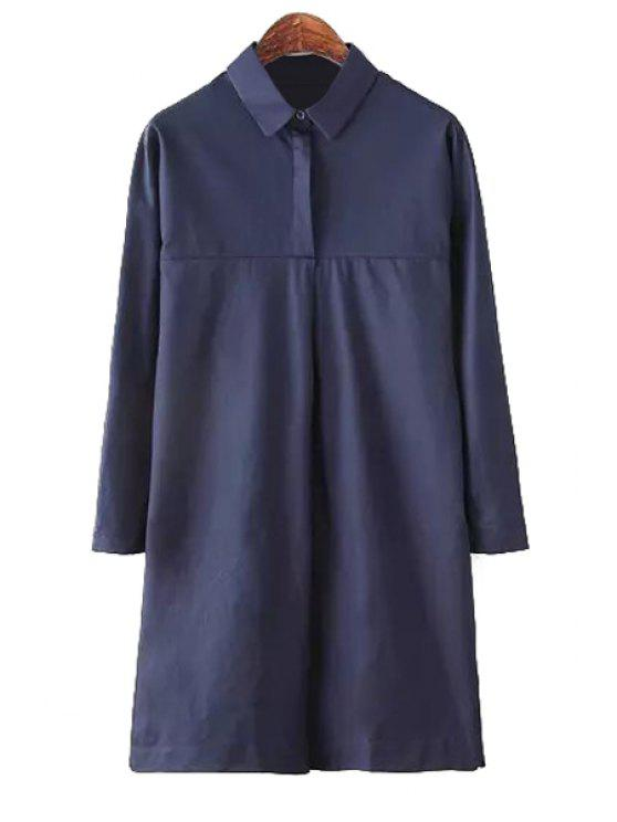 fashion Solid Color Shirt Neck Dress - PURPLISH BLUE M