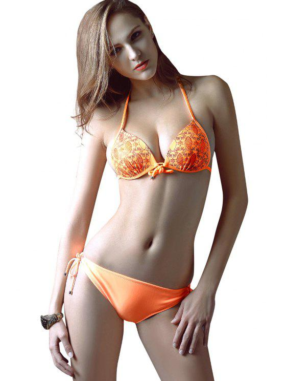 best Print Tie-Up Bikini Set - ORANGE S