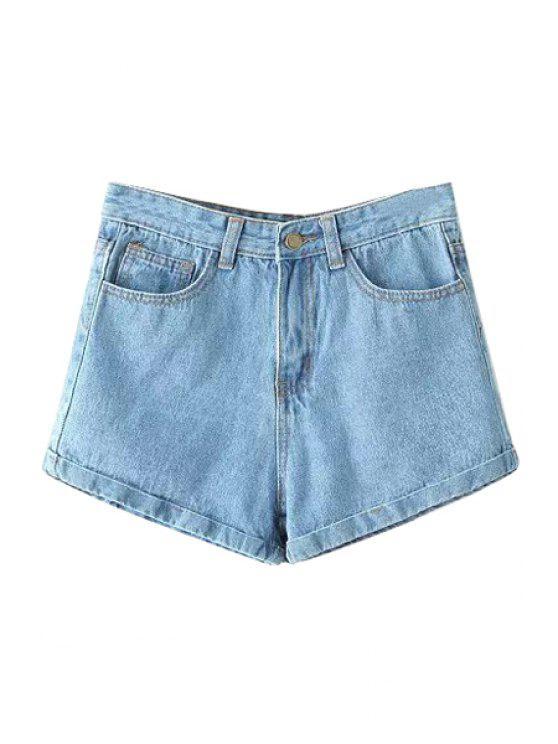 shops Blue Hemming Denim Shorts - BLUE S