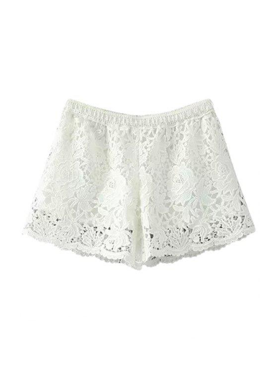 hot Lace Crochet Flower Shorts - WHITE ONE SIZE(FIT SIZE XS TO M)
