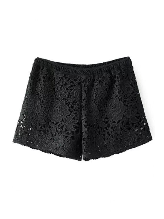 online Lace Crochet Flower Shorts - BLACK ONE SIZE(FIT SIZE XS TO M)