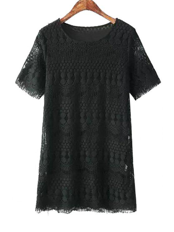best Short Sleeves Lace Dress - BLACK ONE SIZE(FIT SIZE XS TO M)