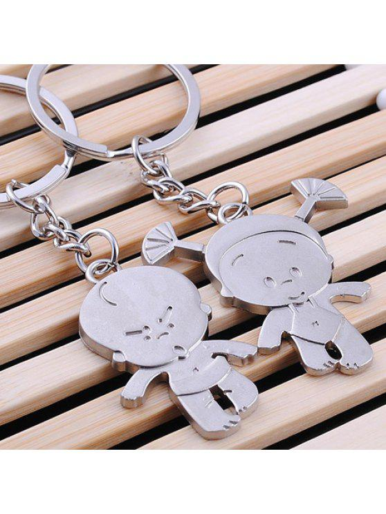 latest Pair of Cute Cartoon Pendant Key Rings - SILVER