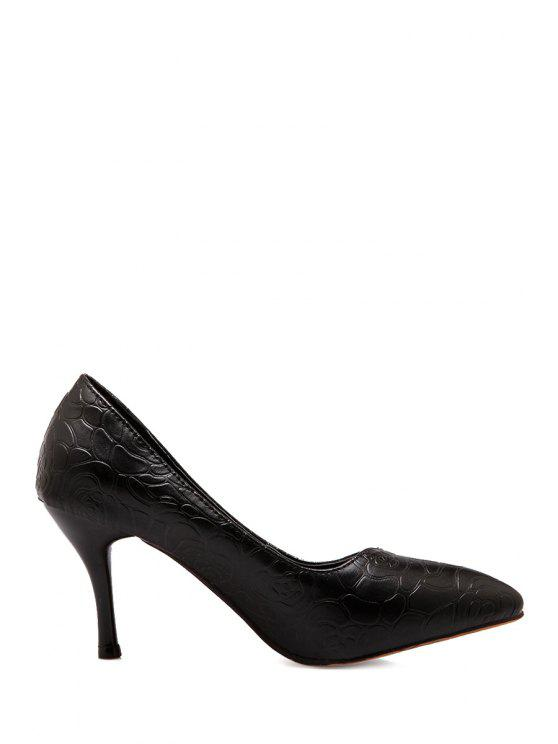 affordable Embossing Stiletto Heel Pointed Toe Pumps - BLACK 34