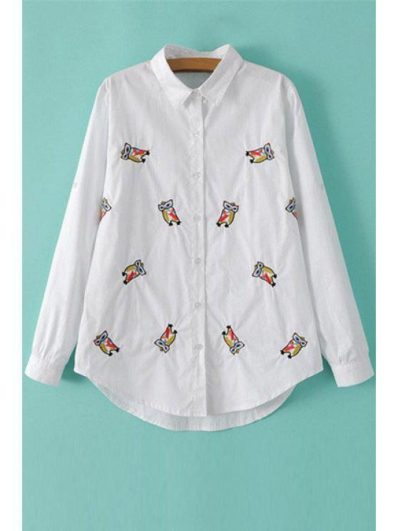 womens Owl Embroidery Long Sleeve Shirt - WHITE M