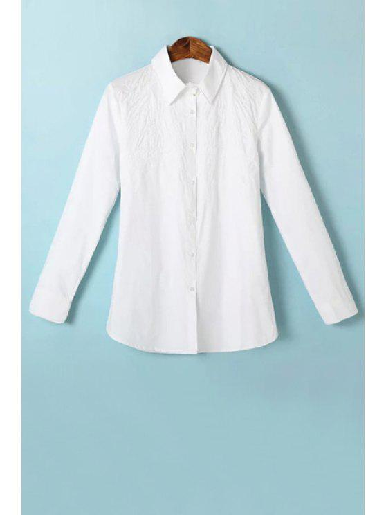 latest Embroidery White Long Sleeve Shirt - WHITE S