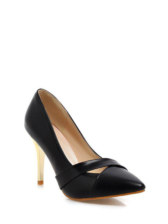 buy Hollow Out Stiletto Heel Pumps - BLACK 38
