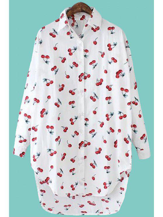 women's Cherry Print Asymmetrical Shirt - WHITE ONE SIZE(FIT SIZE XS TO M)