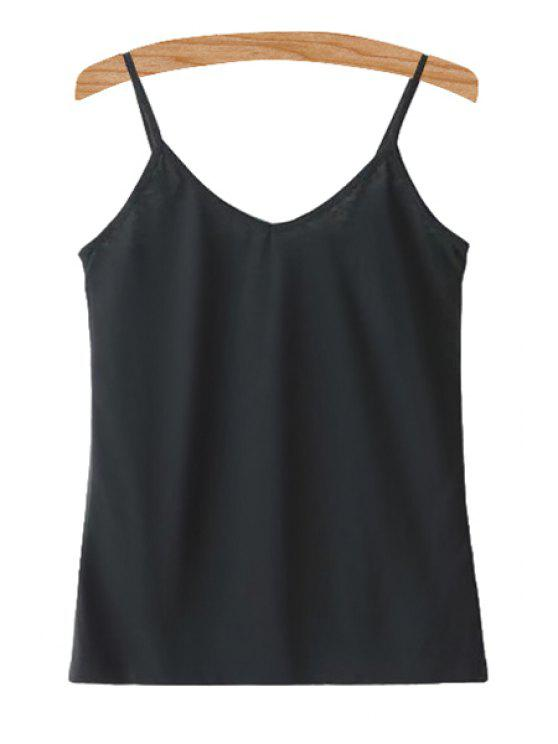 outfit Spaghetti Straps Solid Color Tank Top - BLACK M