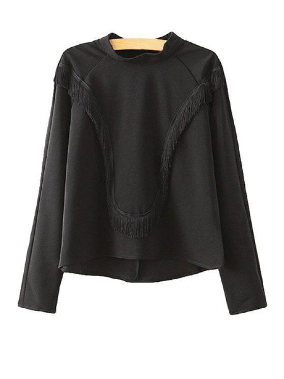 unique Solid Color Fringe Splicing T-Shirt - BLACK M