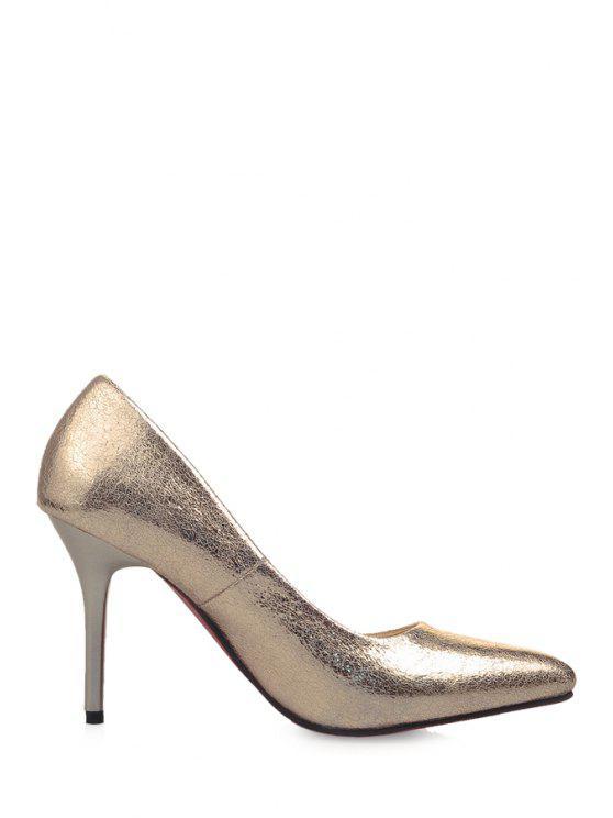 women's Stiletto Heel Bling Bling Pumps - GOLDEN 34