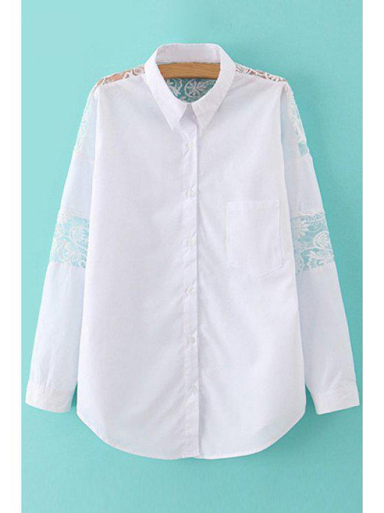 lady Solid Color Lace Splicing Shirt - WHITE M