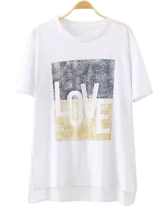 outfits Letter Short Sleeves T-Shirt - WHITE ONE SIZE(FIT SIZE XS TO M)