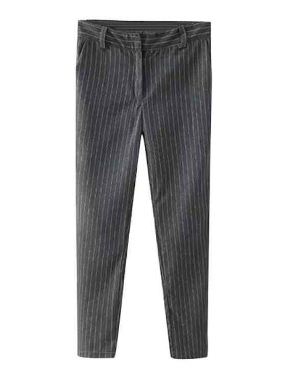outfits Striped Narrow Feet Pants - GRAY S