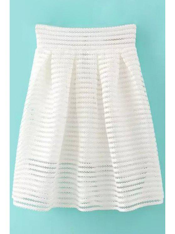 trendy Solid Color Openwork Zipper Fly Skirt - WHITE S