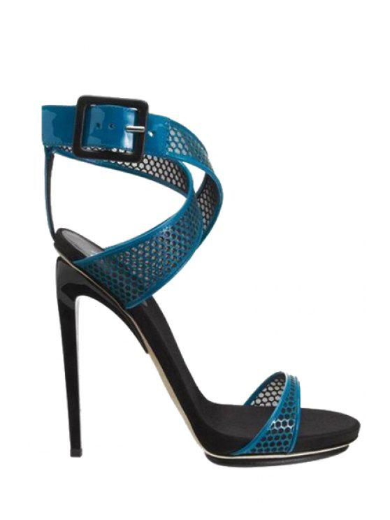 unique Buckle Mesh Blue Stiletto Heel Sandals - BLUE 35