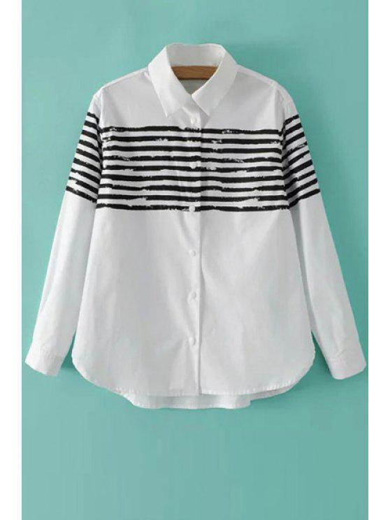 shops Stripe Color Block Long Sleeve Shirt - WHITE S