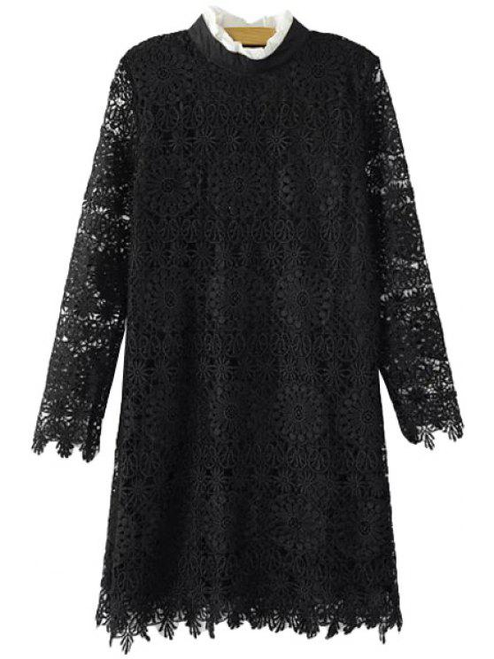 lady Turtle Neck Openwork Lace Dress - BLACK M