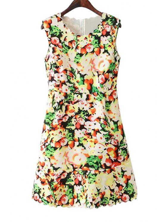 fashion Floral Wavy Hem Sundress - COLORMIX S