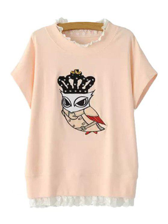 affordable Owl Print Lace Splicing T-Shirt - PINK ONE SIZE(FIT SIZE XS TO M)