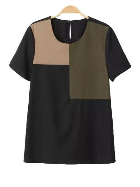 women's Color Block Splicing Short Sleeve T-Shirt - BLACK S