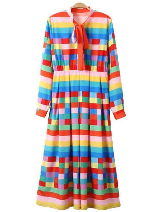 unique Bow Tie Collar Colorful Plaid Print Dress - COLORMIX S