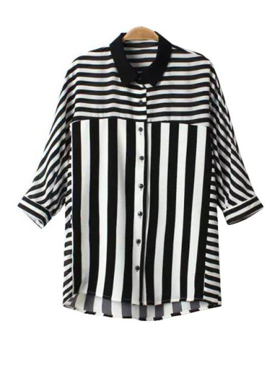 best Stripe Color Block Half Sleeve Shirt - WHITE AND BLACK M