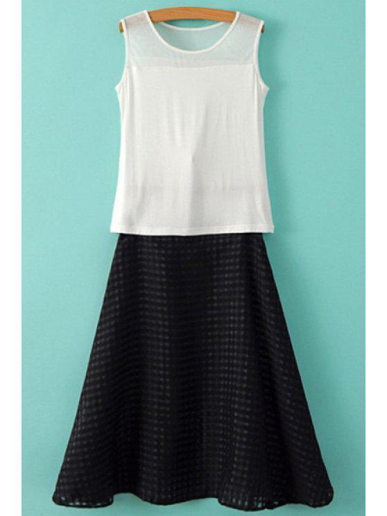 women Solid Color Sleeveless T-Shirt + Long Skirt - WHITE S