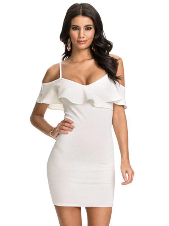 lady Ruffled Spaghetti Straps Bodycon Dress - WHITE M