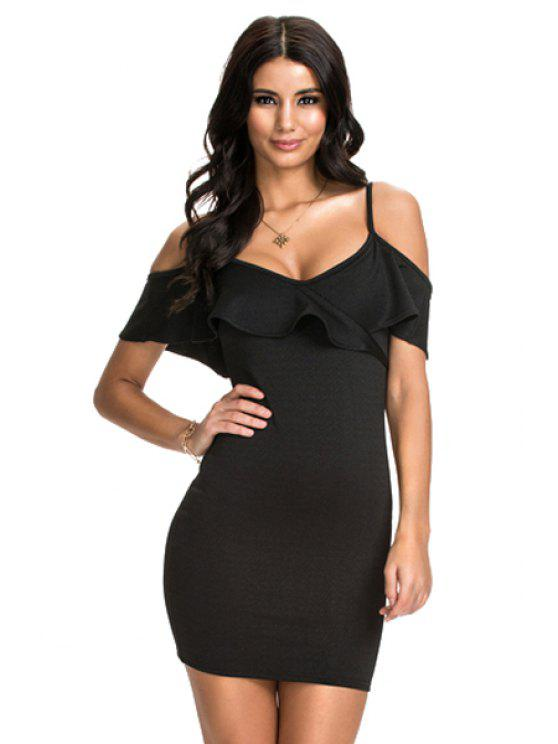 hot Ruffled Spaghetti Straps Bodycon Dress - BLACK S