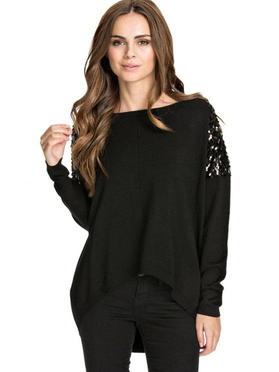 best Sequins Splicing Black Knitwear - BLACK S