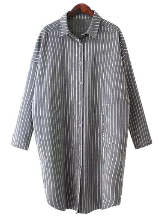 outfits Polo Collar Stripe Long Sleeve Shirt - GRAY ONE SIZE(FIT SIZE XS TO M)