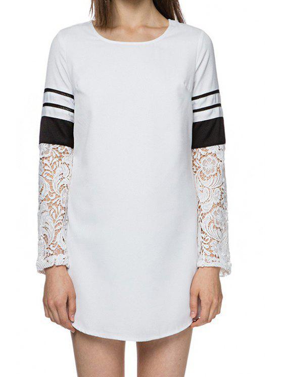 latest Lace Crochet Splicing Long Sleeve Dress - WHITE S