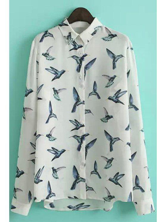 shops Birds Print Long Sleeve Shirt - BLUE AND WHITE S