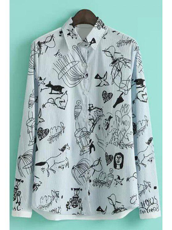 unique Scrawl Print Stripe Long Sleeve Shirt - BLUE AND WHITE S