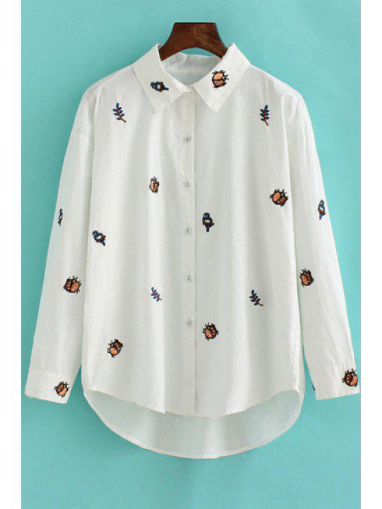 buy Insect Embroidery Long Sleeve Shirt - WHITE M