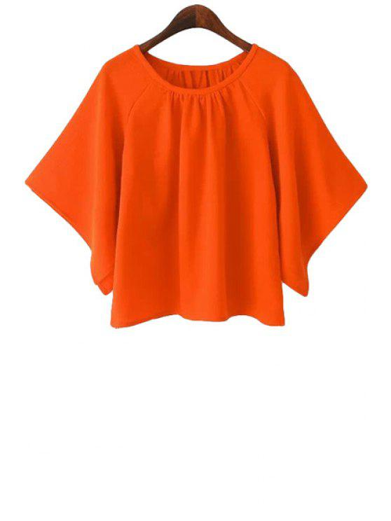 fashion Solid Color Batwing Half Sleeve T-Shirt - ORANGE S
