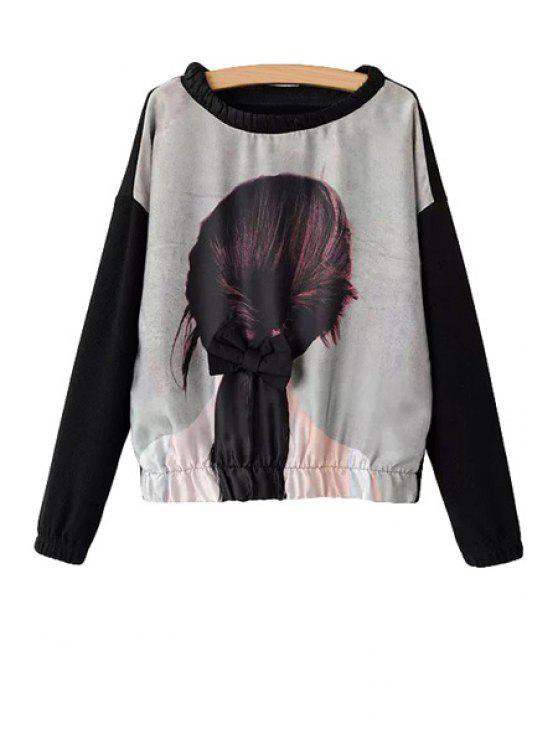 buy Girl Print Bowknot Long Sleeve T-Shirt - BLACK S