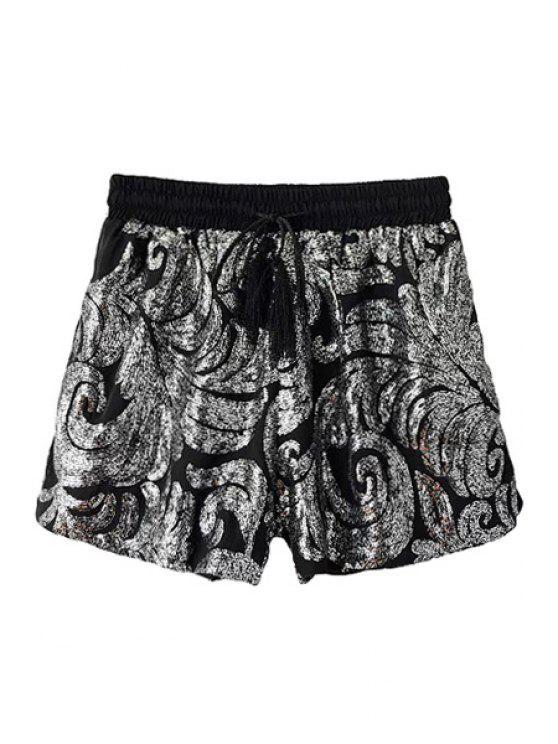 new Sequins Elastic Waist Shorts - BLACK S