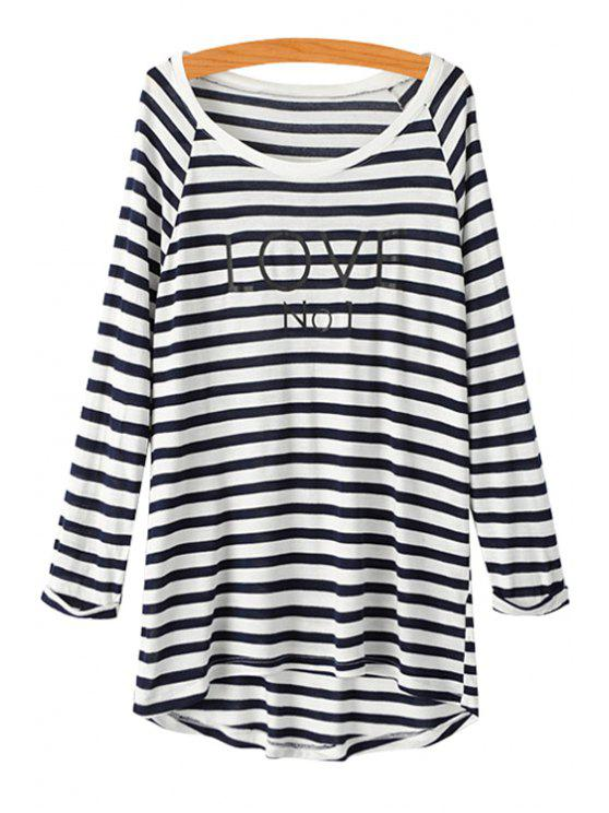 hot Letter Striped Long Sleeve T-Shirt - STRIPE S