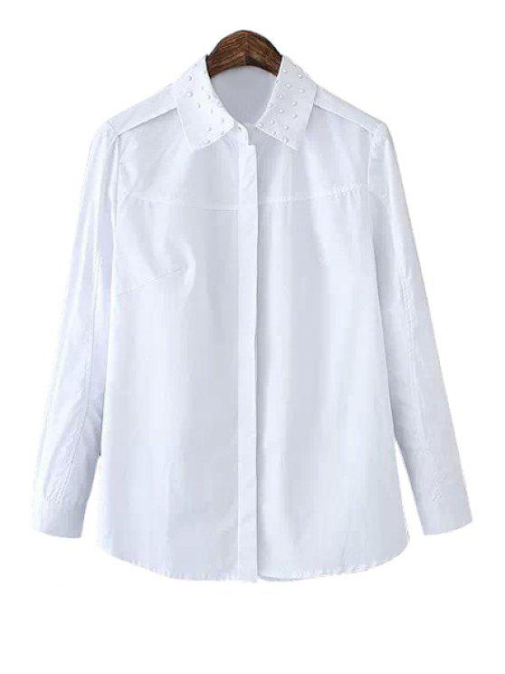 unique White Long Sleeves Shirt - WHITE M