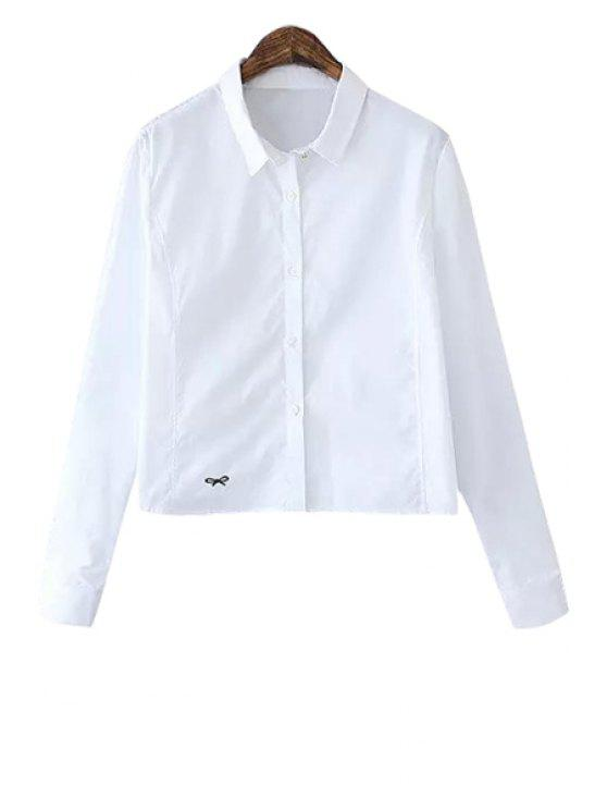 affordable White Bowknot Embroidery Shirt - WHITE M
